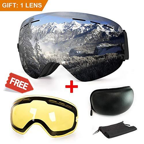 Maschera da sci, antiappannamento, con protezione UV, con doppie lenti intercambiali, ideale per lo sport invernale come lo snowboard, il pattinaggio, lo sci, per uomini e donne, Silver