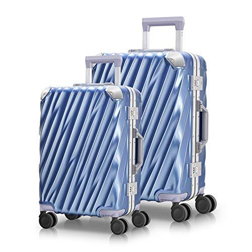 MORIOU Hartschale handgepäckkoffer Koffer 45L+88Lmit Aluminiumrahmen Reisekoffer Polycarbonat TSA-Schlüssel des Zolls Trolley Druckfest Raumflugklasse Qualität(S-M-Set) (Blau, S+M Set)