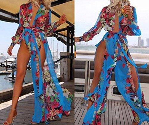 Smile YKK Robe Fendue Femme Sexy Col V Profond Longue pour Plage Voyage Multicolore