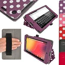 igadgitz Ergo-Portfolio - Funda para tablet Google Nexus 7 (soporte de sobremesa, correa de mano), violeta y blanco