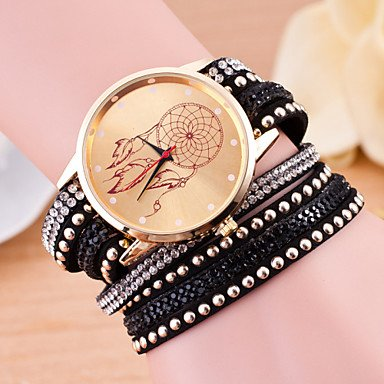 Sports watches Relojes de Hombre Las Mujeres de Moda Estilo Largo Europeo Envuelto atrapasueños Diamantes de imitación Reloj Pulsera Relojes de Mujer (Color : Negro)