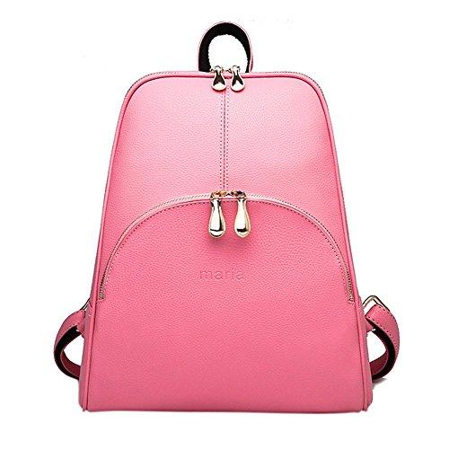 Remeehi da donna donne ragazza studenti scuola borse a tracolla da donna in pelle zaini casual della confezione borsa da viaggio, Pink (Rosa) - JXQ0837-5 Pink