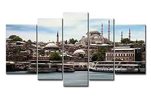 5pièces Décoration murale Tableau d'Istanbul sur bord de mer Turquie photos des Impressions sur toile City Le Décor à l'huile pour Home moderne Décoration d'impression pour décor cadeaux