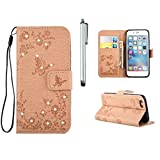 MUTOUREN Custodia in Pelle in bookstyle- Samsung Galaxy J510 (2016) Premium PU Leather Cover Lusso color tatto Disegno Leather Portafoglio Case e Bling Diamond Cover Con Cinghia Magnetica Stand Folio Slim Fit Flip Wallet Protettiva Case Bella Ultra Sottile A Libro Antigraffio Bumper Case Cover e Bling Diamond butterflies and rose+ Stylus Pen Bling Bling d'oro