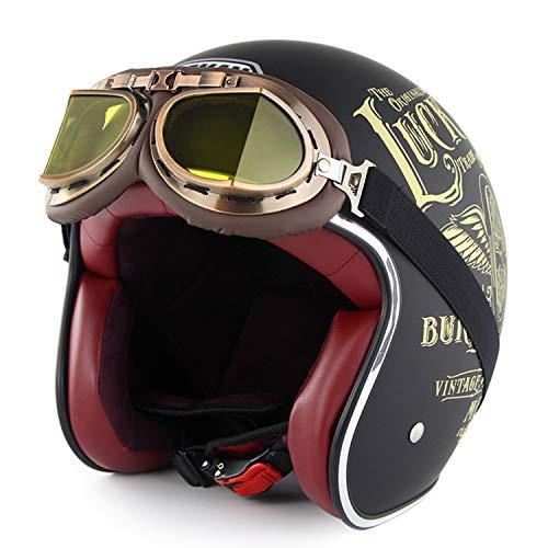 Sunzy Casco Moto Harley, Casco Classico retrò 4 Stagioni Unisex 3/4 per Inviare Occhiali in Linea con Certificazione DOT/ECE,L