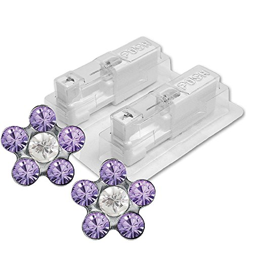 Blumen Medizinischen (1 Paar STUDEX Medizinische Ohrstecker Blume Tanzanite-Crystal)