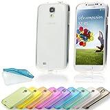 Silikon Soft Samsung Galaxy S4 i9500 Blickdicht / Transparent TPU Hülle Cover Skin Case Schale Bumper Tasche Etui Schutz (Transparent Farblos)