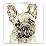 Französische Bulldogge Rehkitz Hund Geschenk–Qualität Grüße Karte mit gratis Auto-Lufterfrischer