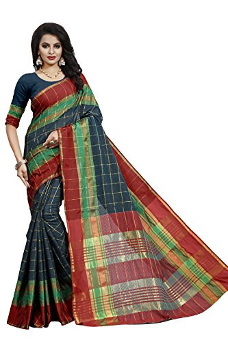 Swadesi Stuff Women's Cotton Printed Saree With Blouse Piece