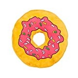 Relaxdays XXL Plüsch Donut Kissen, hochwertige Bestickung, Extra dick, Dekokissen, Doughnut, Kuschelkissen, pink rosa