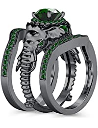 Silvernshine Milgrain Halo 9K Black Gold Plated 1.2Ct Round Green Garnet CZ Diamond Elephant Ring