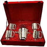 Handicraft Hub India Brass Royal Beer Mug With Ice Bucket Set Of 4 Pcs Silver