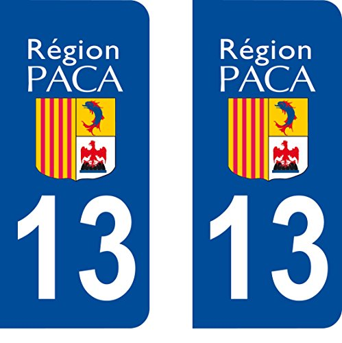 SAFIRMES 2 Stickers Autocollant Style Plaque Immatriculation département 13