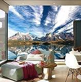 Los últimos murales en 3D, el paisaje natural de Chile, el agua límpida del hermoso cielo de la montaña nevada, el papel de la pared del dormitorio de la pared de la sala de TV, 430 × 300 cm