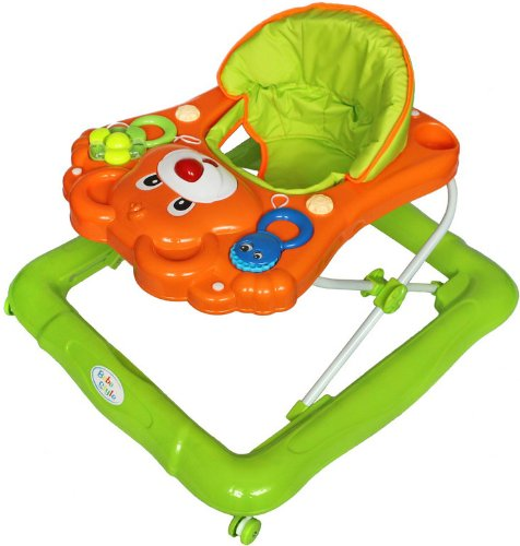 Bebe Style Deluxe Teddy Baby Walker (Orange/ Green)