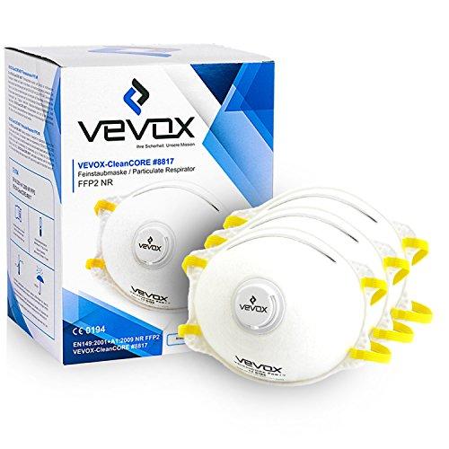 Vevox FFP2 Atemschutzmaske im 10er Set - Absolute Premium Staubmaske - Individuell Verstellbare Mundschutzmaske - Optimal Auch für Brillenträger
