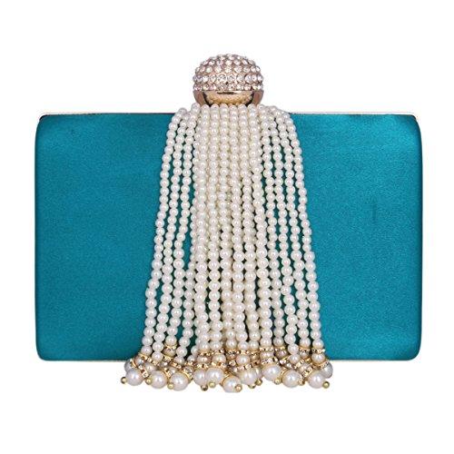 Damara® Elegant Damen Party Clutch Abendtasche Mit Künstlicher Perle Quaste Grün