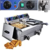 ReaseJoy 20L Commercial Electric Countertop Stainless Steel Dual Tank Deep Fryer 3000W with Timer and Drain