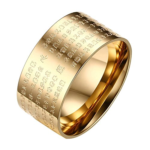 Onefeart Edelstahl Ring Für Damen Herren Buddhist Schrifts Glücksring Als Geschenk 10MM Gold Größe 57 (18.1) (Emerald Herren Ring)