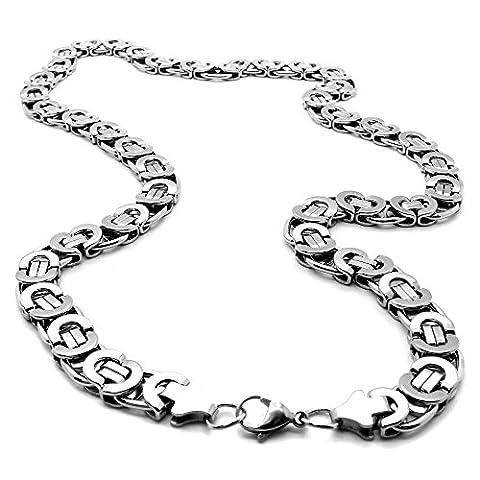 Panzerkette Gliederkette Flache Königskette Silbern Ø 6mm Edelstahl Herrenschmuck Halskette Armband mit Samtbeutel, Länge schmuck:70 cm