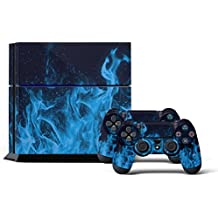 Ps4 Playstation 4 Consola Design Foils Sticker Decal Pegatinas + 2 Controlador Skins Set (Blue Fire)