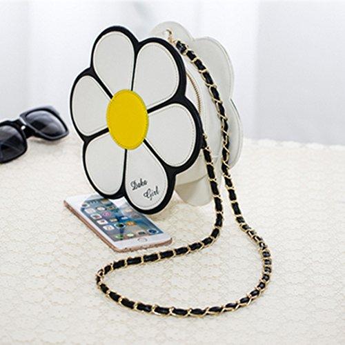 Milya Kette Umhängetasche PU-Leder Schultertasche Damen Umhängetaschen Clutch Leder Clutch Umhängetasche mit Kette Kleine quadratische Paket Geometrische -Muster Silber Sonnenblume-Muster