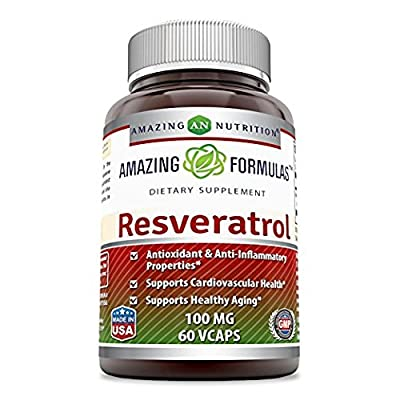 Amazing Formulas Resveratrol 100 Mg 60 Veggie Capsules - Antioxidants and Anti-Inflammatory Properties, Supports Cardiovascular healthy and supports Healthy Aging * by Amazing Nutrition