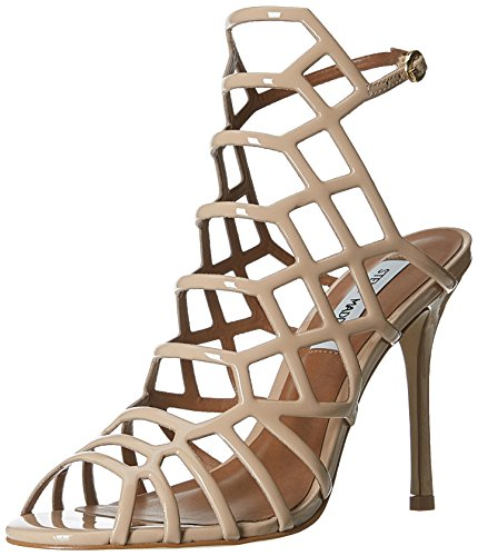 Steve Madden Women's Slithur Nude Patent Leather Fashion Sandals -...