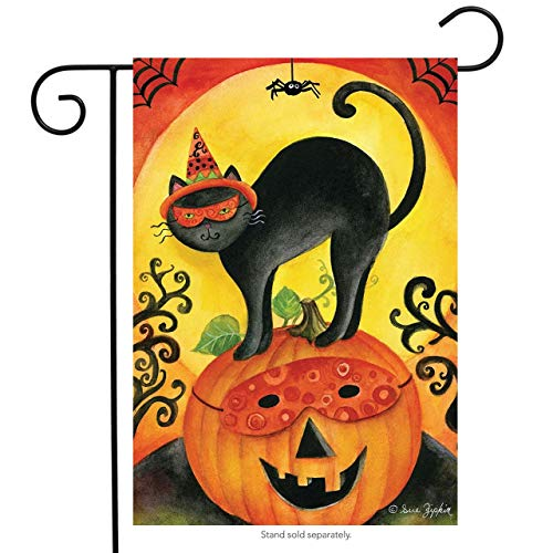 ASKYE Black Cat Halloween Garden Flag Jack O'Lantern Primitive Spider for Party Outdoor Home Decor(Size: 12.5inch W X 18 inch H)