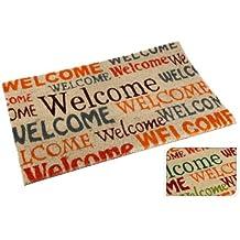 Fußmatte Welcome aus Kokos Willkommensmatte Fußabtreter Antirutsch NEU, Farbe:Grün