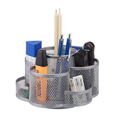 Relaxdays girevole, rotondo, materiale cancelleria scuola portapenne scrivania ufficio, argento, 7 scomparti