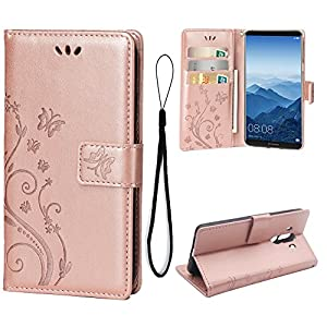 Wallet Case for Huawei mate 10 Pro, 3 Card Holder Embossed Butterfly Flower PU Leather Magnetic Flip Cover For Huawei mate 10 Pro (Rose Gold)