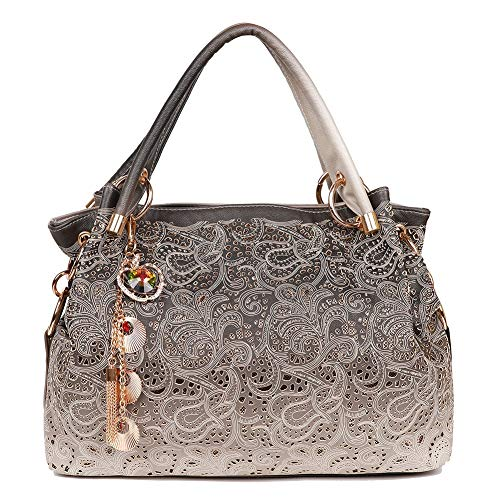 EGOGO Damen Handtasche Leder Henkeltasche Hollow Tote Tasche Für Fraun Schultertasche E522-1 (Grau)