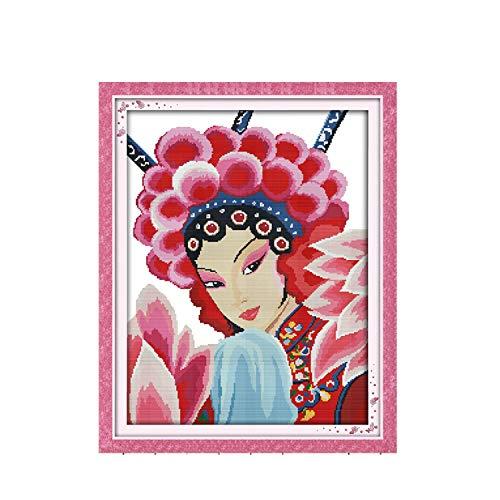 Mu Guying Chinese Girl Home Decor Gemälde auf Leinwand DMC 11 CT 14 ct Kreuzstich-Set Stickerei, canvas, einfarbig, 14CT printed -