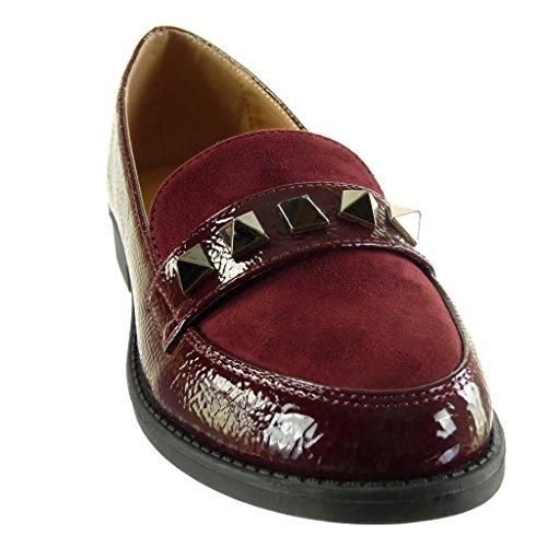 Angkorly Fashion Shoes Mocassins Femme Slip-on Femme Cloutée Vernie Bloc Talon 2 Cm Edge