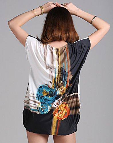 YOUJIA Damen Oversize T Shirts Print Casual Loose Kurzarm Lange Shirt Blau