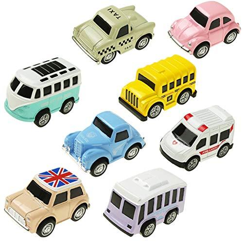 FBGood 8-Teiliges Baby Spielzeugauto Modell, Mini Karikatur Form Metall Gleitendes Q-Version Stadt Modellauto Spielt Kinder Pädagogisches Spielzeug Geburtstag Geschenk für Jungen Mädchen