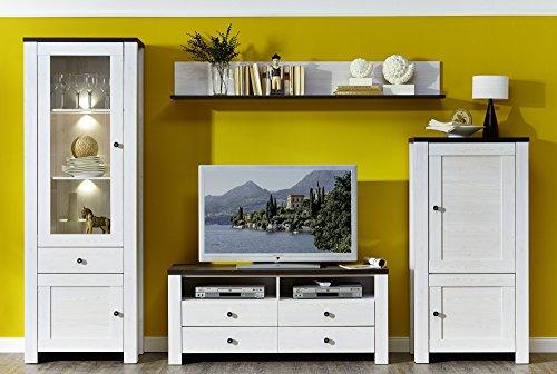 Stella Trading ANLL711080 Wohnzimmerschrank Wohnwand Anbauwand TV Wohnlösung mit LED Beleuchtung, Holz, weiß, 40.0 x 300.0 x 203.0 cm