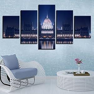 Decor Home per Living Room Wall Art 5 Pezzi Costruire Scene notturne Poster Immagini modulari Canvas Modern HD Prints