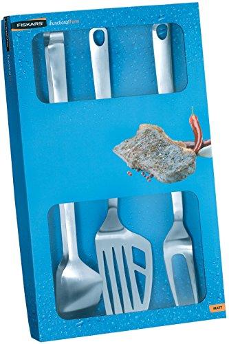Utensili barbecue 3 pz satin. - Accessori grill FISKARS