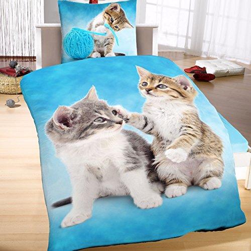 Mikrofaser Thermofleece Bettwäsche 135x200cm 2tlg Katzen Tiere Kätzchen
