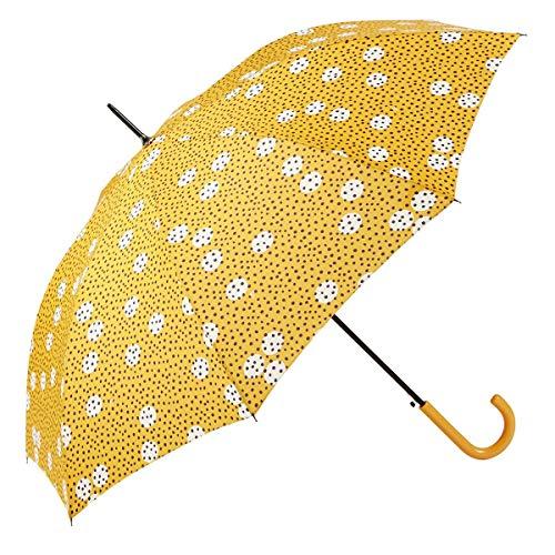 GOTTA Paraguas Largo antiviento de Mujer, automático con puño Curvo de plástico. Tejido Estampado Lunares. - Amarillo