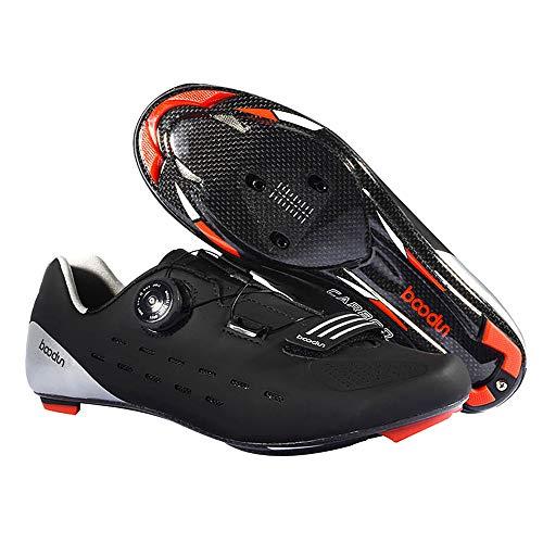 Lixada Fibra di Carbonio Scarpe da Ciclismo Leggero Scarpe da Bici da Atletica da Uomo TraspiranteAuto-Lock per Bici da Strada