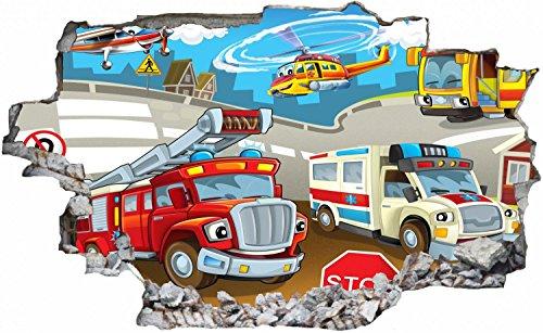 feuerwehr wandsticker Feuerwehr Krankenwagen Cartoon Wandtattoo Wandsticker Wandaufkleber C0745 Größe 70 cm x 110 cm