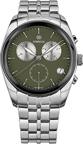 3323818647b7 Jowissa Lux Reloj Hombre Cronógrafo Caja Acero 40mm Esfera Verde Brazalete  Acero