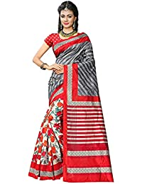 Indian Robe Daily Wear Art Silk Saree (Red And Grey, Free Size, Pack Of 1)