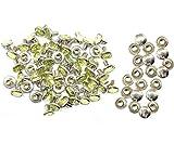 Weddecor 10x 8mm, Farbe: ab, Acryl mit Strass mit Zubehör für Rivet Nieten, Leder, zum Basteln, Designer-Gürtel, Kleidung, Taschen, Hunde-Halsbänder, metall, lindgrün, 50
