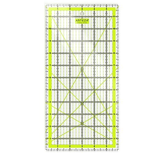 Arteza Patchwork-Lineal — Transparentes Acryl Quilt-Lineal — 6 x 12 Zoll (15,24 - 30.48cm) — Quilten Lineal mit Zweifarbige Rasterlinien