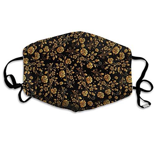 Preisvergleich Produktbild Black Gold Rose Mouth Mask Unisex Anti-dust Cotton Face Mask for Men and Women,  Boys and Girls