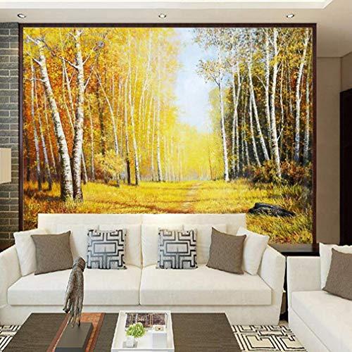 3D Fotomural - Papel Pintado - 3D Paisaje idílico Árboles de Oro de otoño Mural - Art Decó Moderno hogareña Decoración, 200 * 140cm